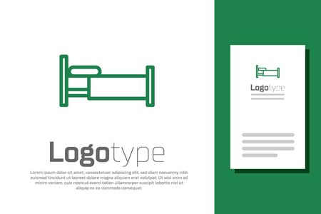 Green line Bed icon isolated on white background. Logo design template element. Vector Illustration Ilustrace