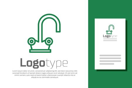 Green line Water tap icon isolated on white background. Logo design template element. Vector Illustration