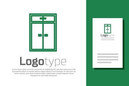 Green line Wardrobe icon isolated on white background. Logo design template element. Vector Illustration Ilustrace