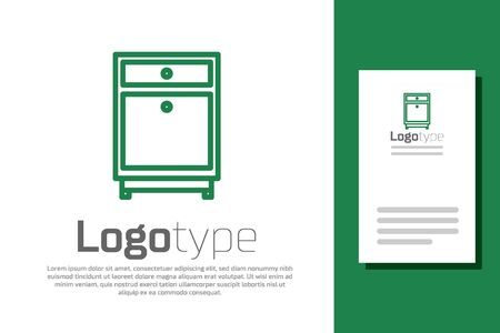 Green line Furniture nightstand icon isolated on white background. Logo design template element. Vector Illustration
