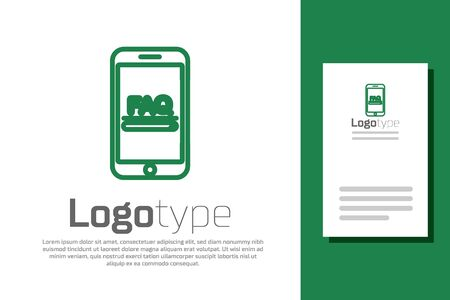 Green line Mobile phone with text FAQ information icon isolated on white background. Frequently asked questions. Logo design template element. Vector Illustration