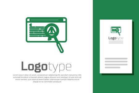 Green line System bug concept icon isolated on white background. Code bug concept. Bug in the system. Bug searching. Logo design template element. Vector Illustration