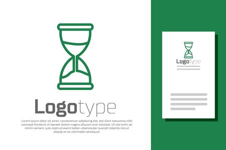 Green line Old hourglass with flowing sand icon isolated on white background. Sand clock sign. Business and time management concept. Logo design template element. Vector Illustration 向量圖像