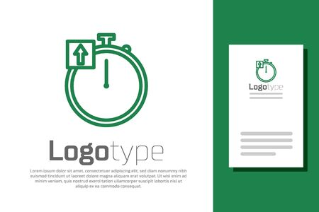 Green line Stopwatch icon isolated on white background. Time timer sign. Chronometer sign. Logo design template element. Vector Illustration