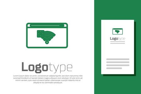 Green line No Internet connection icon isolated on white background. No wireless wifi or sign for remote internet access. Logo design template element. Vector Illustration Stock Illustratie
