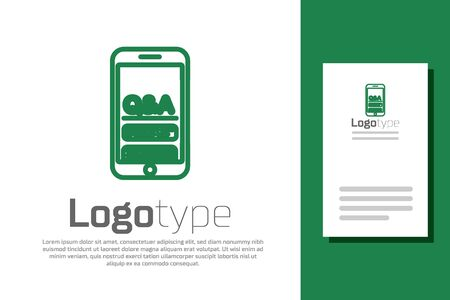 Green line Mobile phone with Question and Exclamation icon isolated on white background. Frequently asked questions. Logo design template element. Vector Illustration