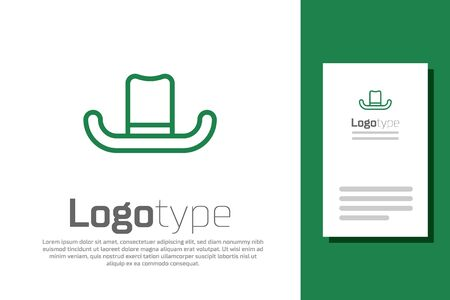 Green line Man hat with ribbon icon isolated on white background. Logo design template element. Vector Illustration Stock Illustratie