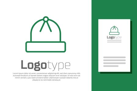 Green line Winter hat icon isolated on white background. Logo design template element. Vector Illustration
