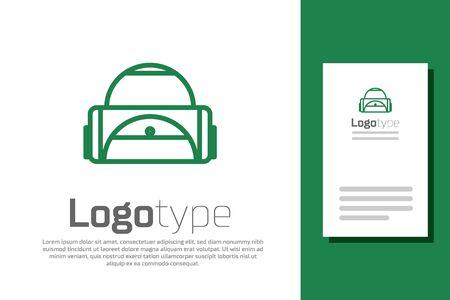 Green line Sport bag icon isolated on white background. Logo design template element. Vector Illustration Illustration