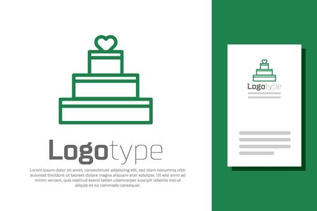 Green line Wedding cake with heart icon isolated on white background. Valentines day symbol. Illustration