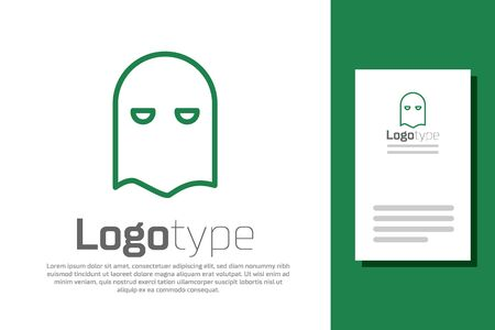 Green line Executioner mask icon isolated on white background. Hangman, torturer, executor, tormentor, butcher, headsman icon.