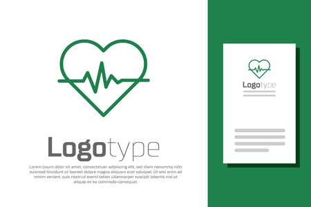 Green line Heart rate icon isolated on white background. Heartbeat sign. Heart pulse icon. Cardiogram icon.