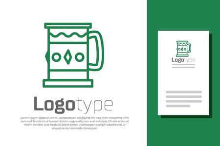 Green line Wooden mug icon isolated on white background.