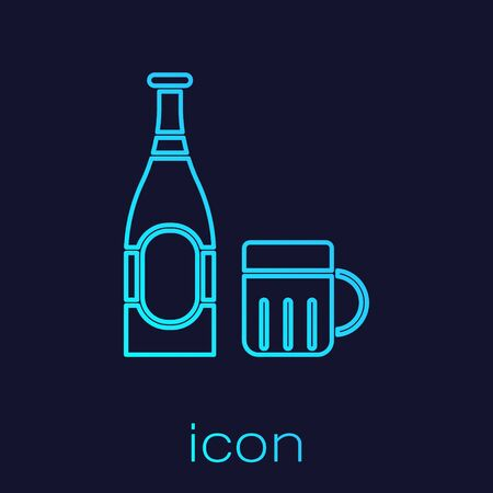 Turquoise line Beer bottle and glass icon isolated on blue background. Alcohol Drink symbol. Vector Illustration