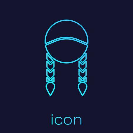 Turquoise line Braid icon isolated on blue background.  Vector Illustration Ilustração