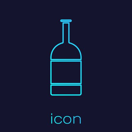 Turquoise line Beer bottle icon isolated on blue background. Vector Illustration