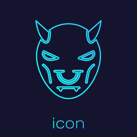 Turquoise line Mask of the devil with horns icon isolated on blue background.  Vector Illustration