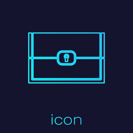 Turquoise line Chest for game icon isolated on blue background.  Vector Illustration