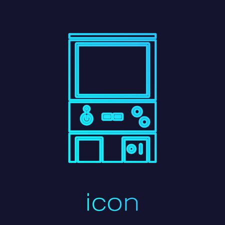 Turquoise line Retro arcade game machine icon isolated on blue background.  Vector Illustration