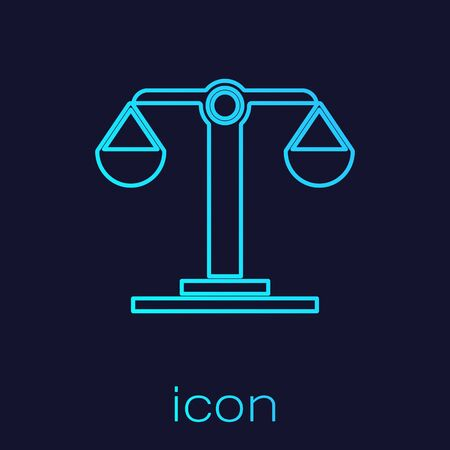 Turquoise line Libra zodiac sign icon isolated on blue background. Astrological horoscope collection. Vector Illustration Çizim