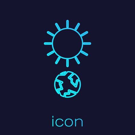Turquoise line Solstice icon isolated on blue background. Vector Illustration