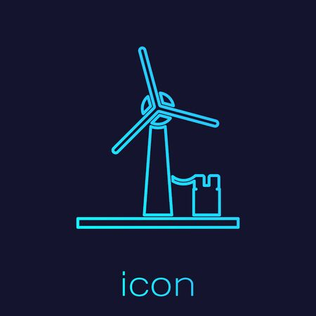 Turquoise line Wind turbine icon isolated on blue background. Wind generator sign. Windmill for electric power production. Vector Illustration
