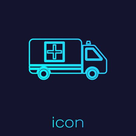 Turquoise line Ambulance and emergency car icon isolated on blue background. Ambulance vehicle medical evacuation. Vector Illustration