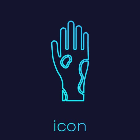 Turquoise line Hand with psoriasis or eczema icon isolated on blue background. Concept of human skin response to allergen or chronic body problem. Vector Illustration Illustration