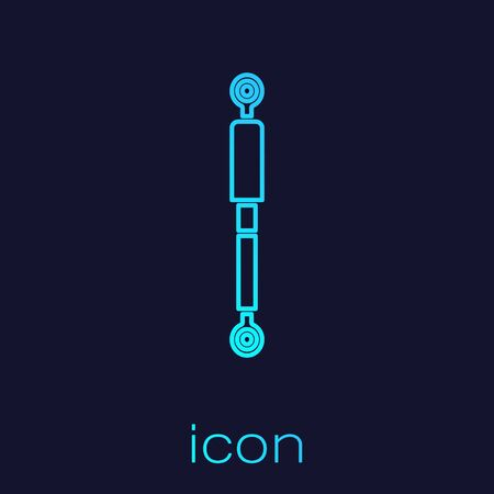 Turquoise line Shock absorber icon isolated on blue background. Vector Illustration
