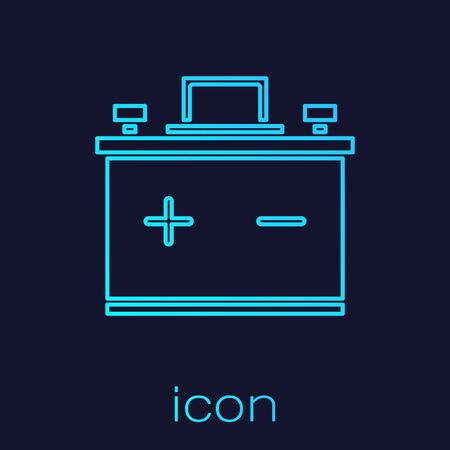Turquoise line Car battery icon isolated on blue background. Accumulator battery energy power and electricity accumulator battery. Vector Illustration