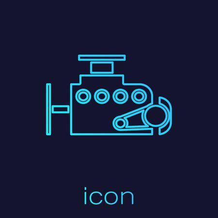 Turquoise line Car engine icon isolated on blue background. Vector Illustration