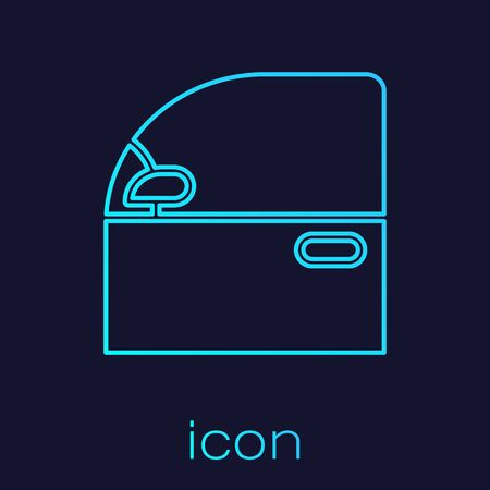 Turquoise line Car door icon isolated on blue background. Vector Illustration