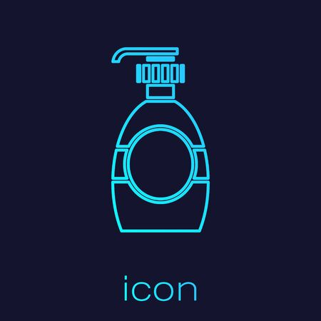 Turquoise line Bottle of liquid antibacterial soap with dispenser icon isolated on blue background. Disinfection, hygiene, skin care concept. Vector Illustration