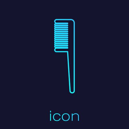 Turquoise line Hairbrush icon isolated on blue background. Comb hair sign. Barber symbol. Vector Illustration Ilustracja