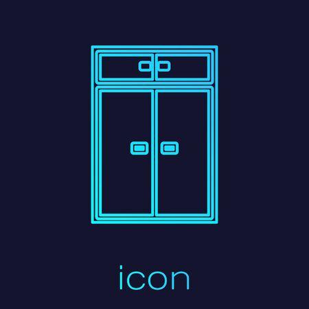 Turquoise line Wardrobe icon isolated on blue background. Vector Illustration