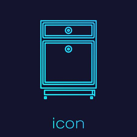 Turquoise line Furniture nightstand icon isolated on blue background. Vector Illustration
