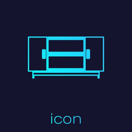 Turquoise line TV table stand icon isolated on blue background. Vector Illustration