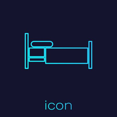 Turquoise line Bed icon isolated on blue background. Vector Illustration Ilustrace