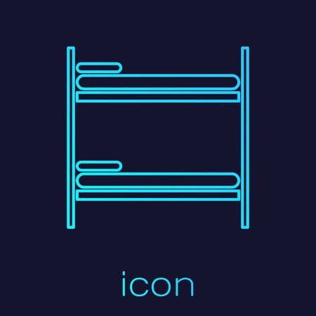 Turquoise line Bunk bed icon isolated on blue background. Vector Illustration