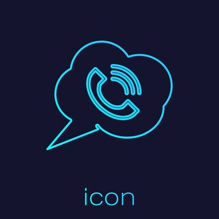 Turquoise line Speech bubble with phone call icon isolated on blue background. Vector Illustration