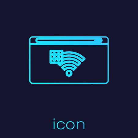 Turquoise line No Internet connection icon isolated on blue background. No wireless wifi or sign for remote internet access. Vector Illustration