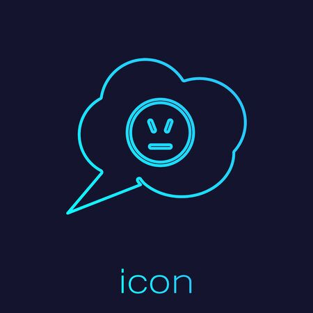 Turquoise line Speech bubble with angry smile icon isolated on blue background. Emoticon face. Vector Illustration