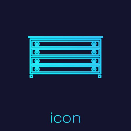 Turquoise line Chest of drawers icon isolated on blue background. Vector Illustration Ilustrace