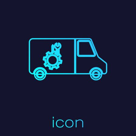 Turquoise line Car service icon isolated on blue background. Repair service auto mechanic. Maintenance sign. Vector Illustration