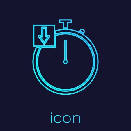 Turquoise line Stopwatch icon isolated on blue background. Time timer sign. Chronometer. Vector Illustration