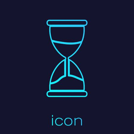 Turquoise line Old hourglass with flowing sand icon isolated on blue background. Sand clock sign. Business and time management concept. Vector Illustration