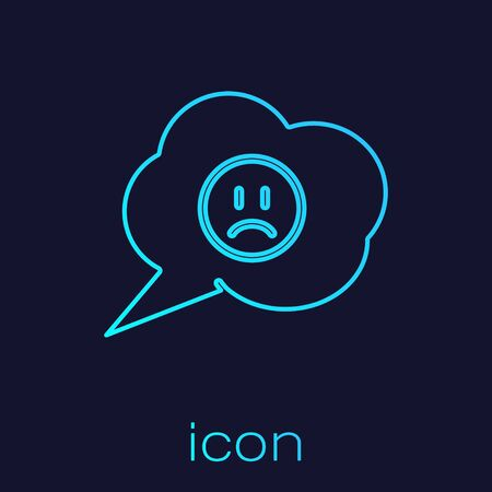 Turquoise line Speech bubble with sad smile icon isolated on blue background. Emoticon face. Vector Illustration