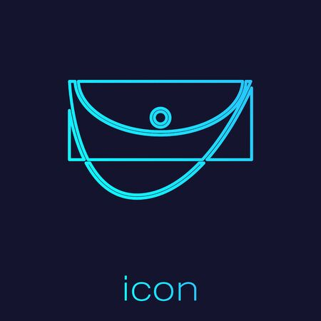 Turquoise line Clutch bag icon isolated on blue background. Women clutch purse. Vector Illustration