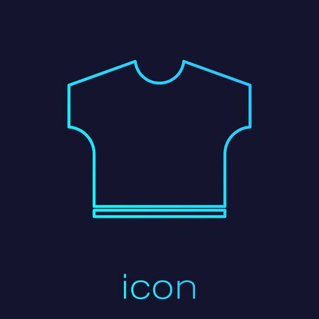 Turquoise line T-shirt icon isolated on blue background. Vector Illustration Vettoriali