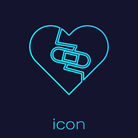 Turquoise line Healed broken heart or divorce icon isolated on blue background. Shattered and patched heart. Love symbol. Valentines day. Vector Illustration